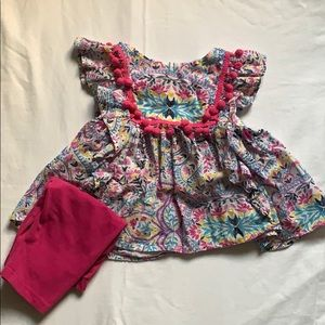 Pippa & Julie pink Pom top and leggings baby 18M